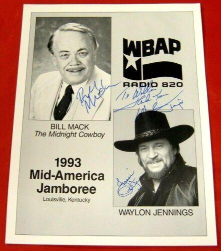 "Waylon Jennings & Jessi Colter  Signed/Autographed 8 1/2"" x 11""  Promo Flier! NM"