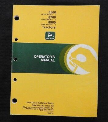 Original John Deere 8560 8760 8960 Tractor Operators Manual 200 Pages Very Good