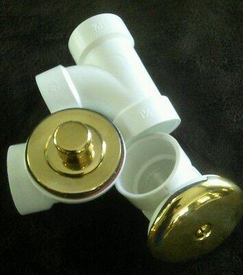 Lift  and  Turn Tub Drain Three piece Kit, polished brass, - Lift And Turn Drain