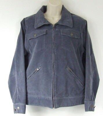 Cabelas Jacket Womens Size M Blue Gray Corduroy Full Zip 4 Pockets