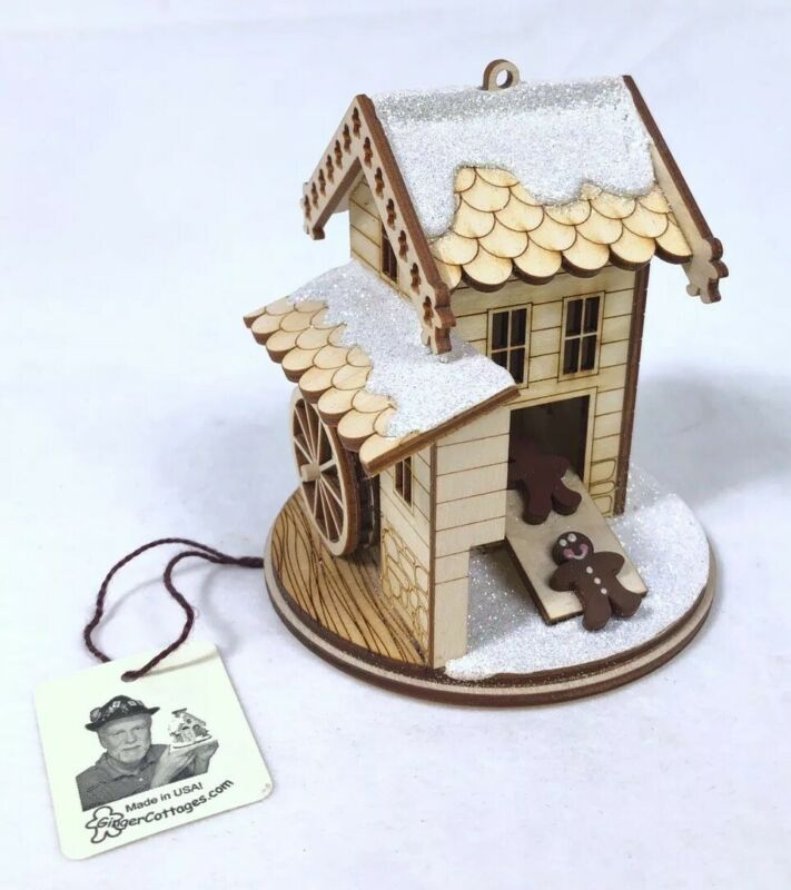 Ginger Cottage Wooden Ornament - Gingerbread Man Grist Mill - Made in the USA