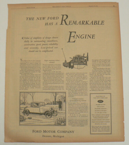 1929 Ford Original Full Page Newspaper Ad