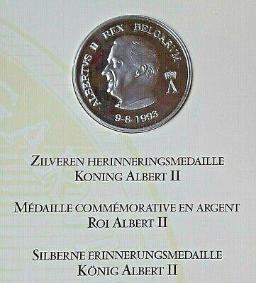 Le Roi Albert II, 1993, SPL+, Argent Belgique, Médaille,