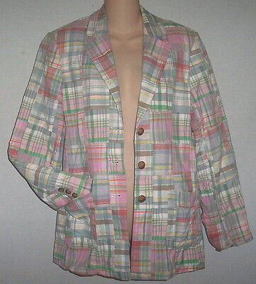 ORVIS Madras Pink Plaid Cotton Patchwork Blazer Jacket Sz 6 Pink Multi Color