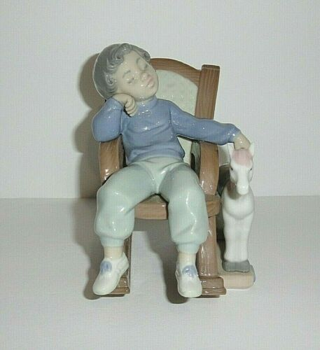 Lladro Figurine #5846 All Tuckered Out  Boy in Rocking Chair
