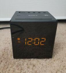 Sony ICF-C1 AM/FM Alarm Clock Radio Cube Black Dimmable/Snooze
