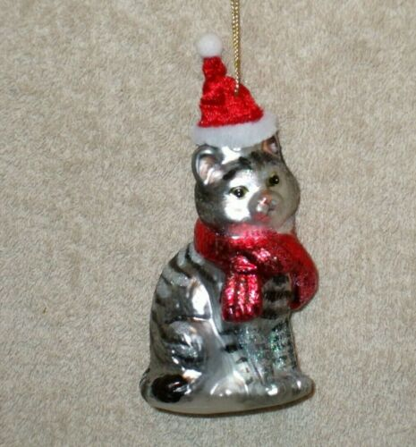 Gray Tabby Cat Glass Christmas Ornament w/Santa Hat & Scarf - New