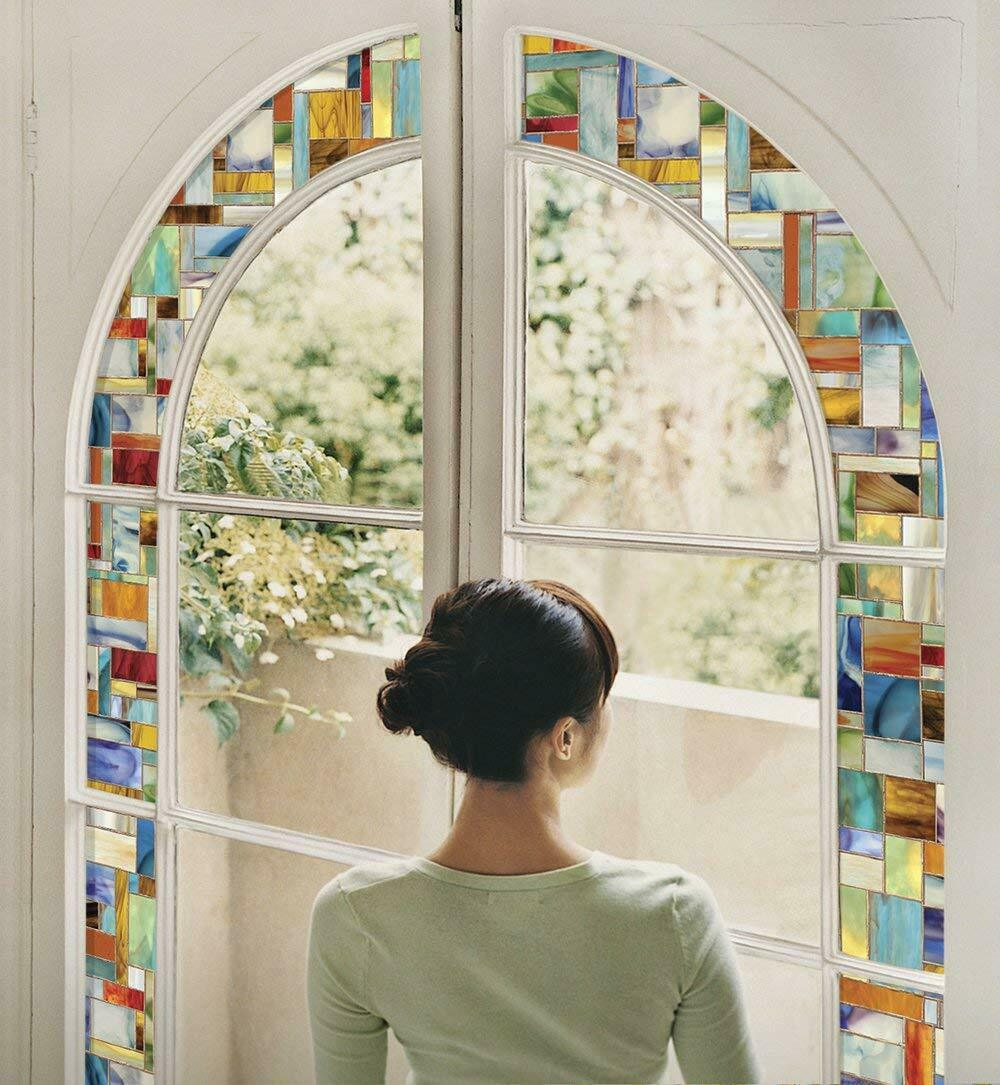 Stained Glass Decorative Window Film Privacy No Adhesives UV