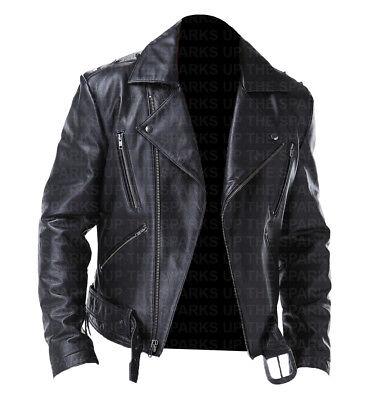 Ghost Rider Nicolas Cage Stylish Biker Wear Leather Jacket Best Halloween Costum (Ghost Rider Costumes)