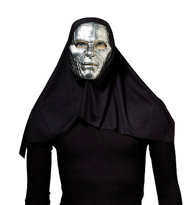 Sci-fi Outfit (SCARY SILVER #SCI-FI ROBOT MASK WITH BLACK  HOOD FANCY DRESS OUTFIT ACCESSORY)