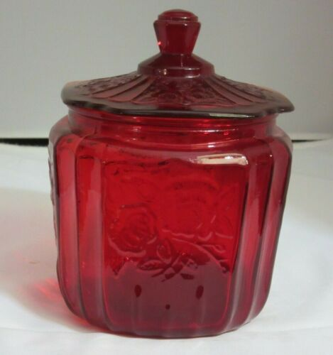 """RUBY RED Glass BISCUIT JAR reproduction Anchor Hocking """"Mayfair Open Rose"""""""