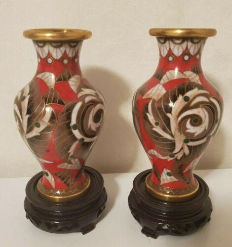 """Pair Vintage Colorful Leaf/Flora lDecorated Antique Chinese Cloisonné 5"""" Vase JA"""
