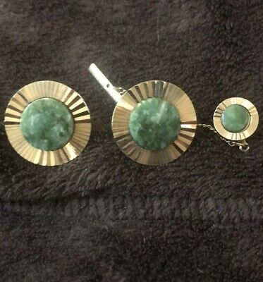 Vintage LaMode Set Jade Cufflinks Modern Gold Tone Stone Cuff Links Tie Tack - Jade Set Cufflinks