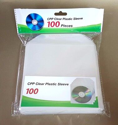 200 CD DVD BLURAY CPP Clear Plastic Sleeves with Flap Envelopes (200 Cd / Dvd)