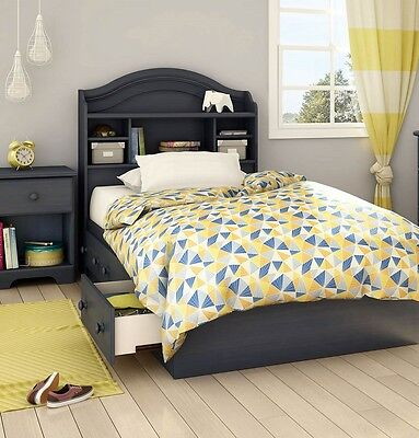 3-Piece Twin Blue Storage Bed Bedroom Bookcase Headboard Furniture Set 3 Drawers