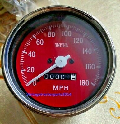 Clockwise Speedometer 85 Mm Mechanical M18x1.5 Thread 180 Mph Red Face