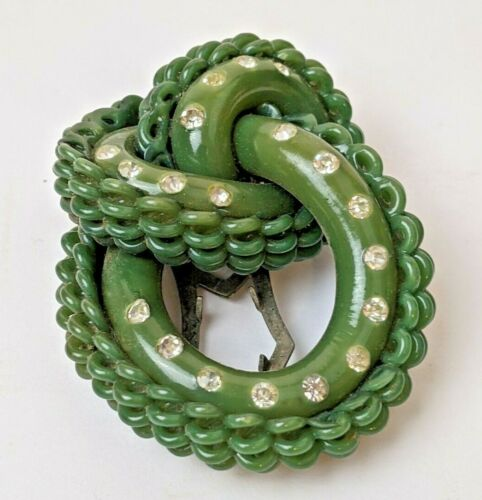 """Antique 2"""" Green Knotted Layered Bakelite & Rhinestones Dress Clip Brooch"""