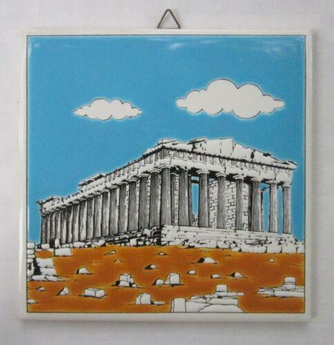 Parthenon Ceramic Tile Art Handmade by Niarchos Hellas Greece Glazed Textured