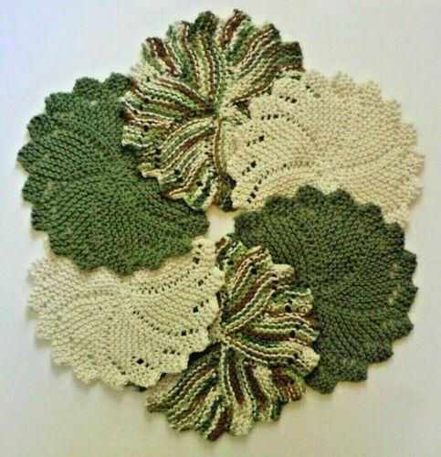 Dishcloths Round Knit Set of 6* LANDSCAPE * Washcloths 100% cotton - USA Grown