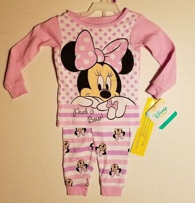 Disney Infant Girls Pink Minnie Mouse Peek a Boo Pajamas Pj's Baby 12M & 24M NWT