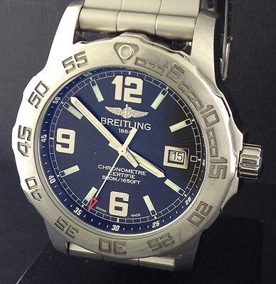 Breitling Colt 44 Mens Quartz Chronometer Watch A74387 500 Meter WR HUGE HEAVY
