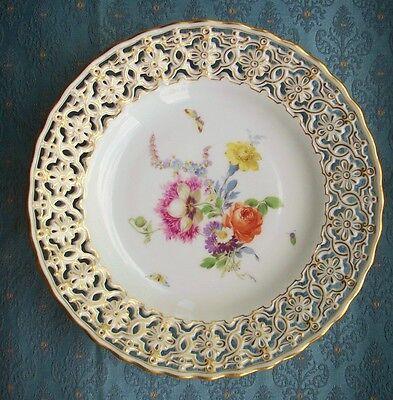 Old Vintage Antique German Meissen Porcelain Reticulated Pierced Porcelain Plate
