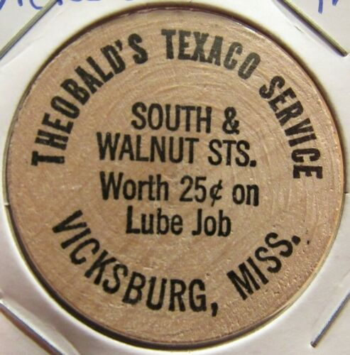 Vintage Theobalds Texaco Service Vicksburg, MS Wooden Nickel - Token Mississippi