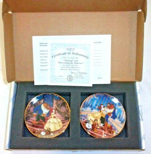 Disney Miniature Collectible Plate Bradford Exchange - set of 2 - BEAUTY & BEAST
