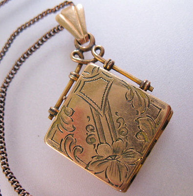 Antique Gold Filled Locket Necklace Victorian Edwardian with Photos from 1920's