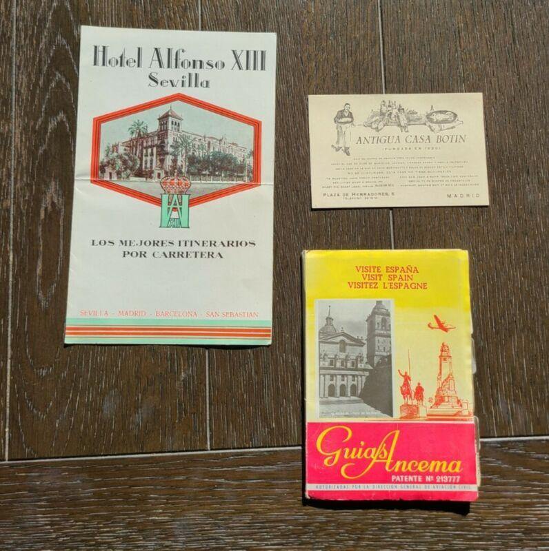 Vintage 1930s-50s Spain Travel brochures/color maps Madrid/Seville