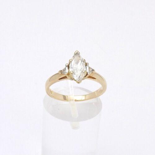 14k Gold Marquise Trillion Diamond Engagement Ring Si  E