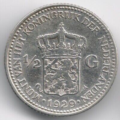 Netherlands : 1/2 Gulden 1929 Silver