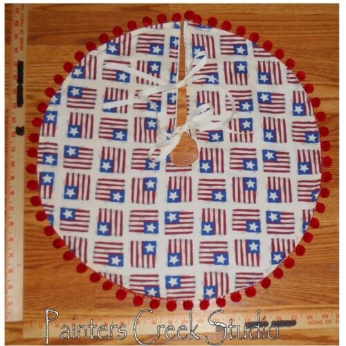 "PRIM FLAG Americana Handmade Mini Tree Skirt, 20"" dia,Flags,July 4th,patriotic"