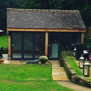 Two Bay Green Oak Framed Garden Outbuilding Building Studio. 5.6m x 3.6m