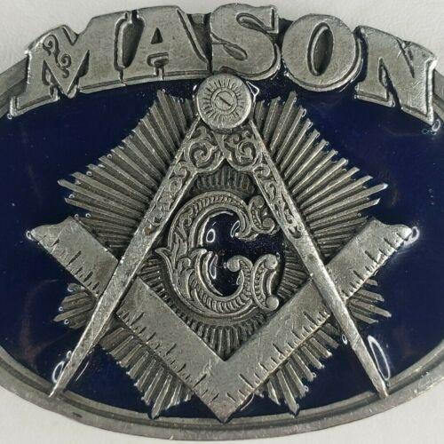 Vintage Mason Belt Buckle C&J 1985 Masonic Enamaled Dark Blue Silver Pewter