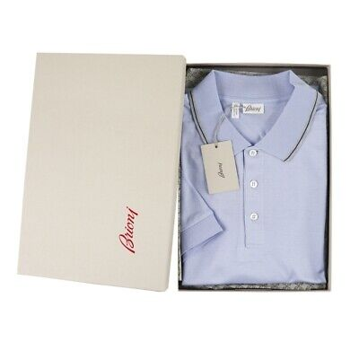 $495 NIB BRIONI Ice Blue 100% Cotton Pique S/S Polo Shirt 3XL Fits L