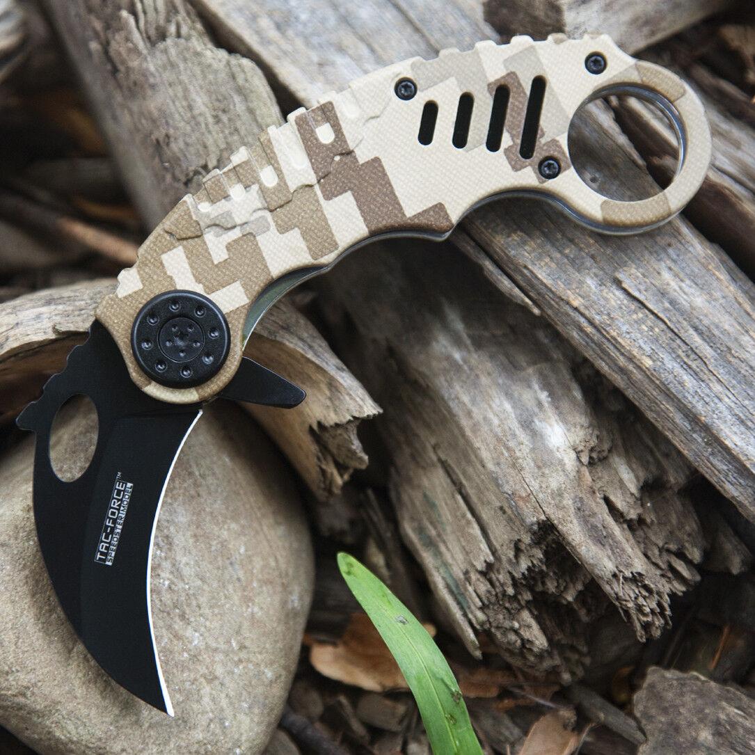 """6"""" TAC FORCE KARAMBIT SPRING ASSISTED TACTICAL FOLDING KNIFE Blade Pocket Open"""