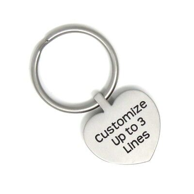 Heart Stainless Steel Metal Key Chain - Custom - Personalized Choose Font - USA](Personalized Keys)