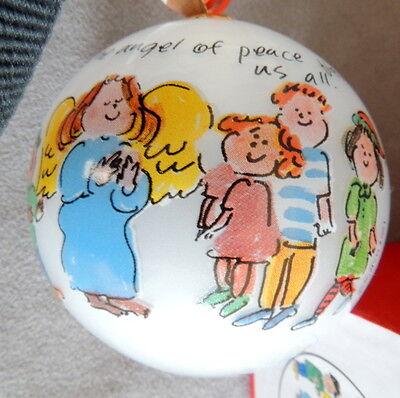 "Christmas Ornament Glass Ball Vintage Li Bien Box Red Angel of Peace Signed 3"""