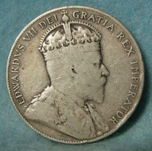 1908 Newfoundland Canada 50 Cents Silver Coin * Canadian Coin #4227