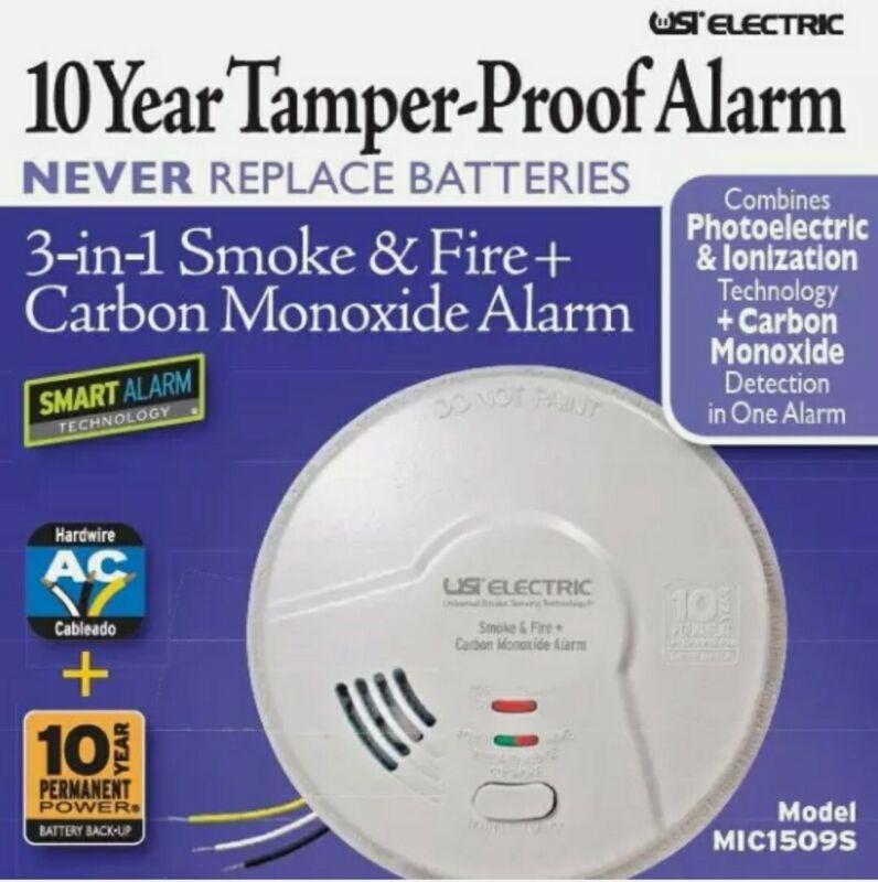 Lot of 6 MIC1509S 3-in-1 Universal Smoke & Carbon Monoxide 10 year Smart Alarm