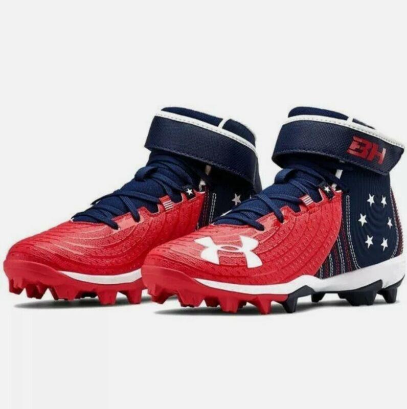 Under Armour Bryce Harper 4 Mid Baseball Shoes American Flag USA Sz  1y Boys