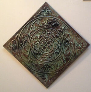 Decorative Embossed Rustic Metal Ceiling Tile Wall Hanging