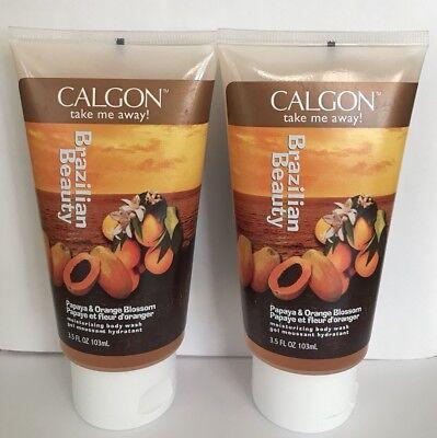 Calgon Papaya (2 Calgon Take Me Away PAPAYA ORANGE BLOSSOM Dream Body Wash 3.2 oz Rare!)