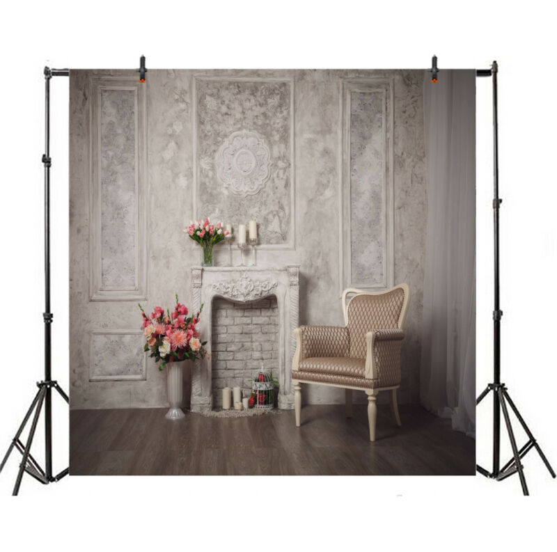Grey Classic Vintage Wall Art Photography Background 8x8Ft Studio Backdrop Props