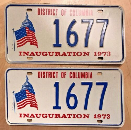 "1973 DISTRICT OF COLUMBIA INAUGURATION LICENSE PLATE PLATES PAIR "" 1677 "" DC 73"