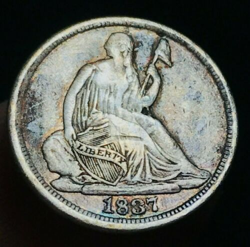1837 Seated Liberty Half Dime 5C LARGE Date NO Stars Type US Silver Coin CC2382