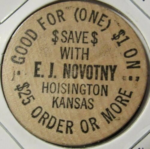 Vintage E.J. Novotny Hoisington, KS Wooden Nickel - Token Kansas #2