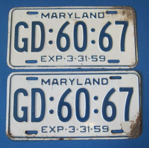 1959 Maryland License Plates Matched Pair
