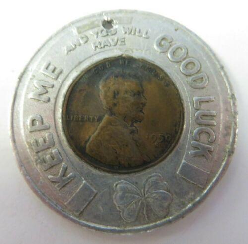 Vtg 1950 Good Luck Wheat Penny Encased Advertising Shamrock Petroleum Products
